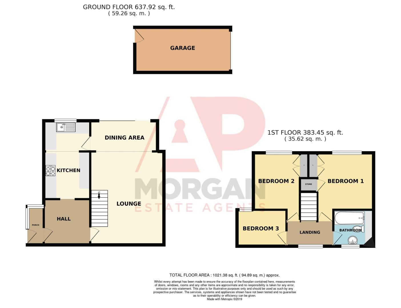 3 bed house for sale in Sutton Close - Property Floorplan