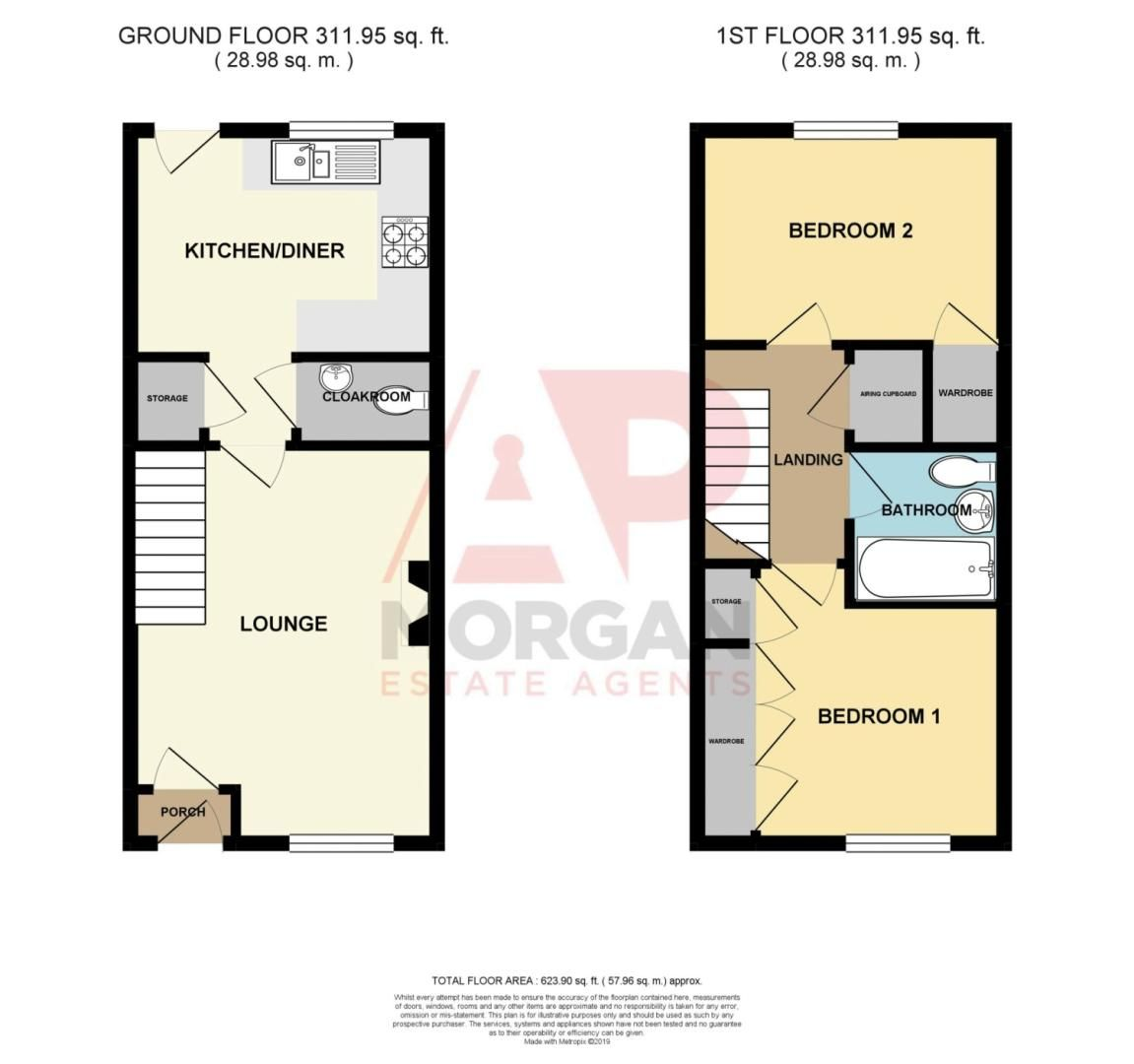 2 bed terraced for sale in Mallow Drive, Woodland Grange - Property Floorplan