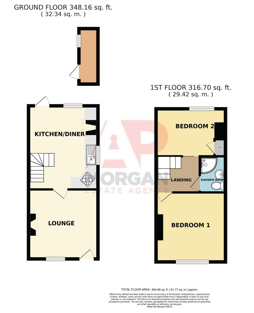 2 bed house for sale in Rock Hill - Property Floorplan