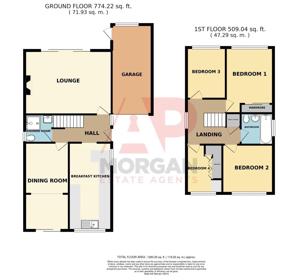 4 bed house for sale in Upland Grove - Property Floorplan