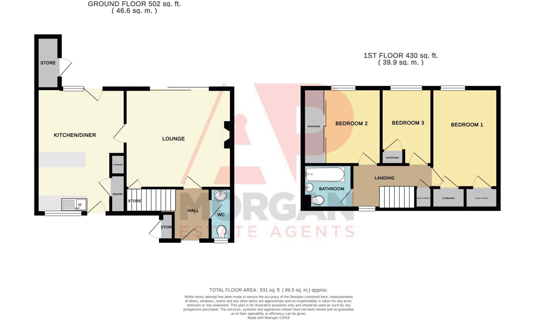 3 bed house for sale in Ladygrove Close - Property Floorplan