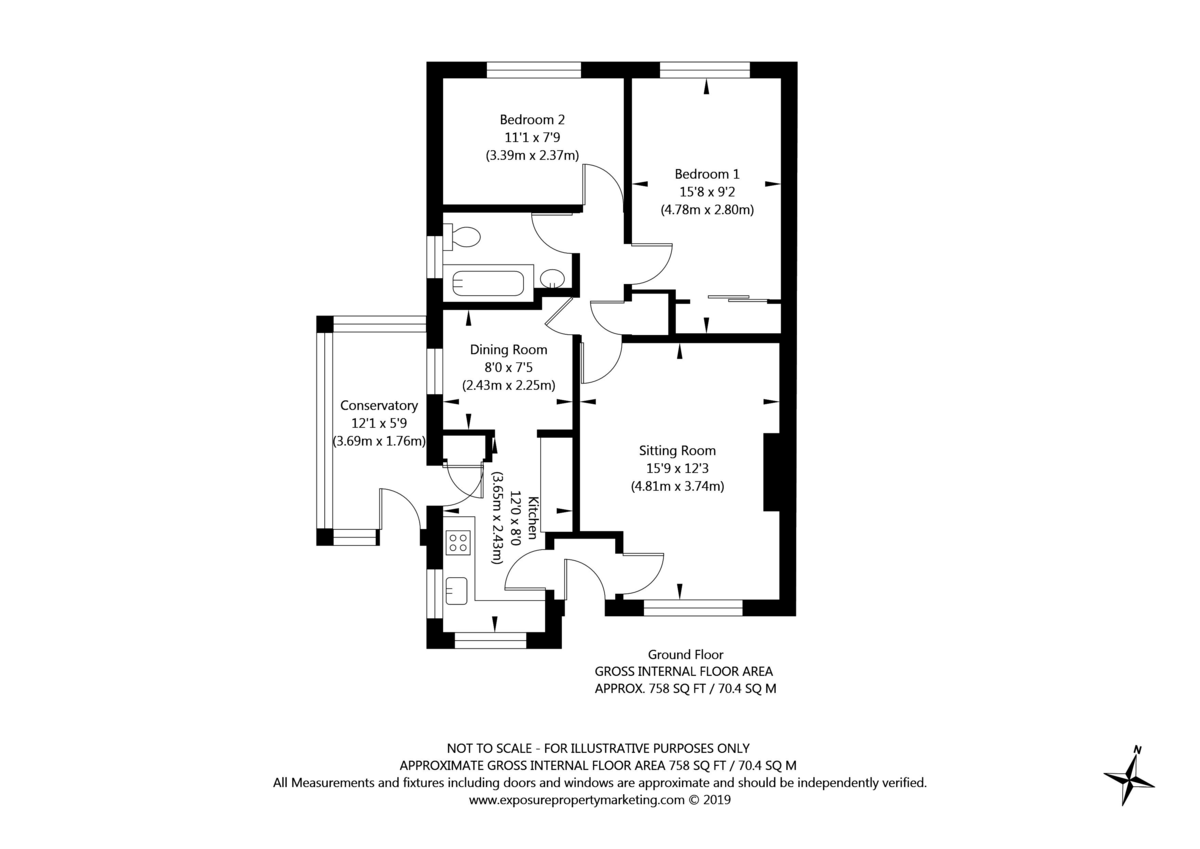 2 bed bungalow for sale in Hillcrest, Tadcaster - Property Floorplan