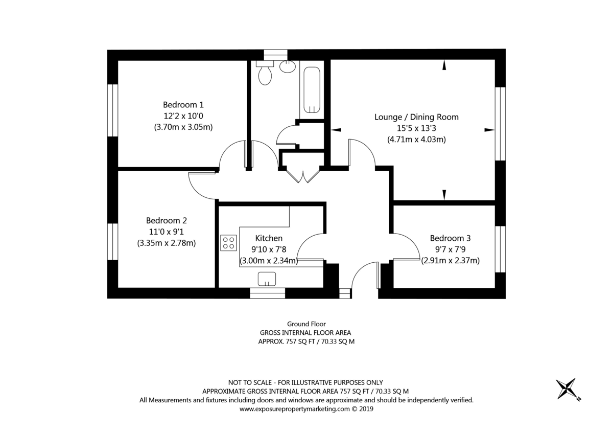 3 bed bungalow for sale in Fewston Drive, Rawcliffe - Property Floorplan