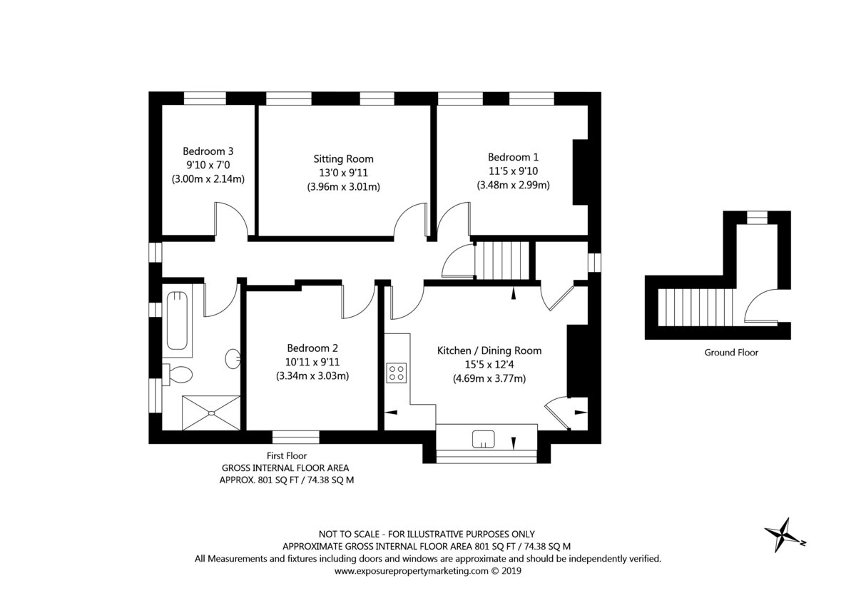 3 bed flat for sale in Queens Gardens, Tadcaster - Property Floorplan