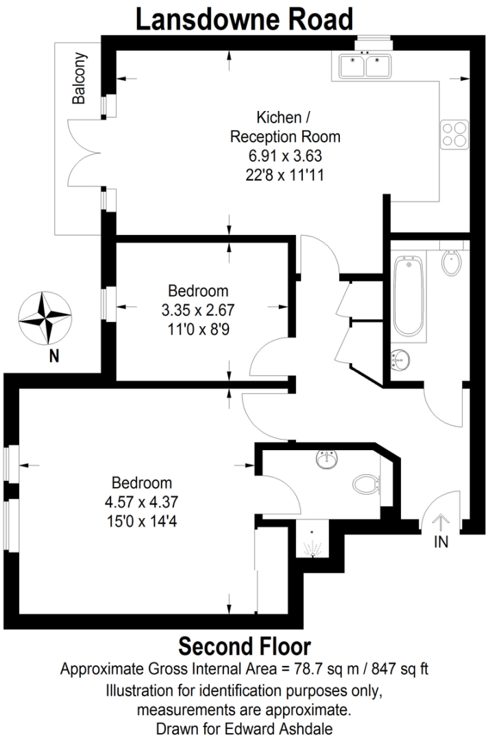 2 bed flat to rent in Lansdowne Road - Property Floorplan