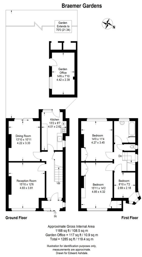 3 bed House to rent on Braemar Gardens - Property Floorplan