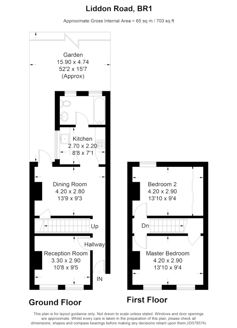2 bed house for sale in Liddon Road, Bromley - Property Floorplan