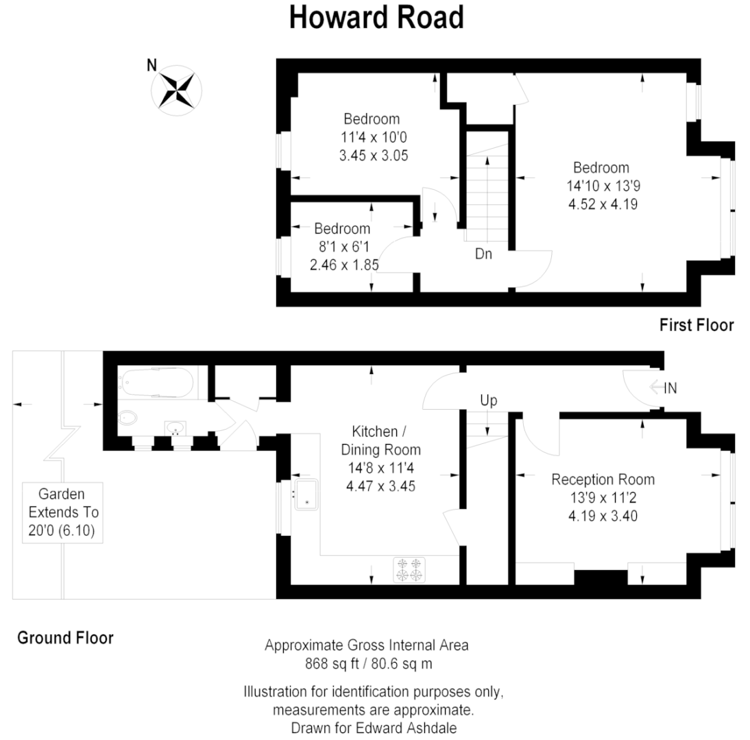 3 bed house for sale in Howard Road, Bromley - Property Floorplan