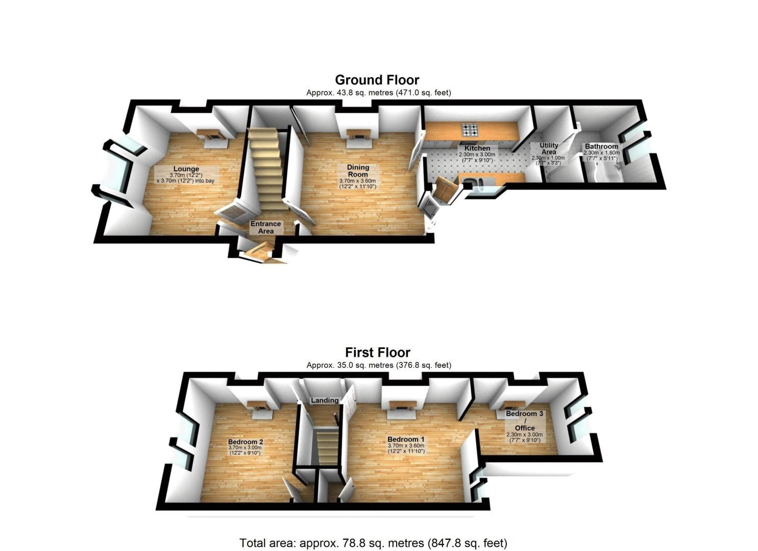 3 bed house for sale in Church Side - Property Floorplan