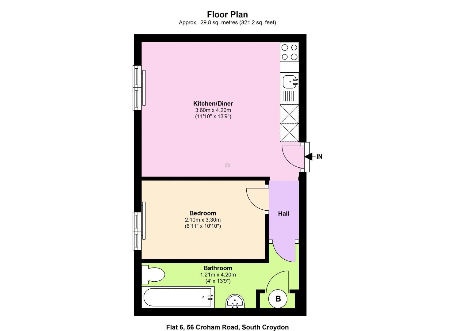 1 bed flat to rent in Croham Road - Property Floorplan