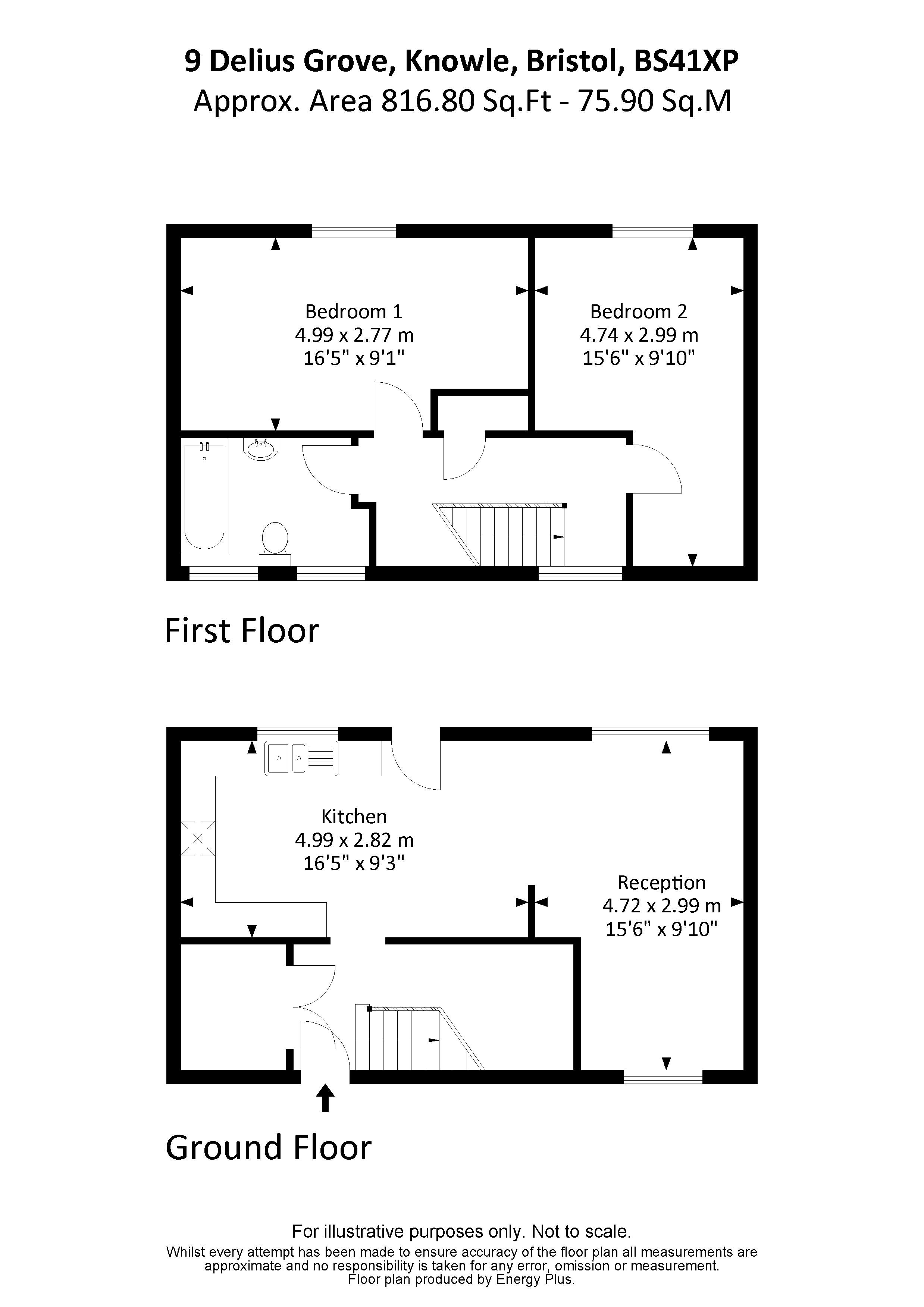 Floorplan for the property 2 bed House for sale on Delius Grove - 1