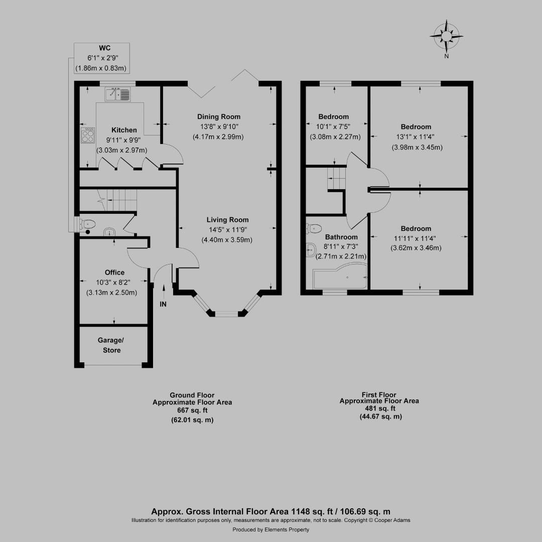 3 bed house for sale in Woodlands Close (COMP AUG 19) - Property Floorplan