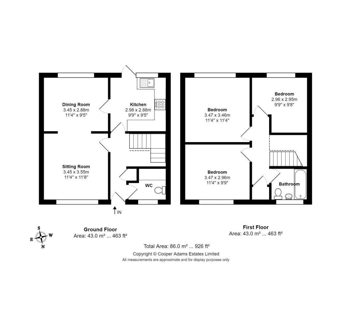 3 bed house for sale in Bewley Road - Property Floorplan