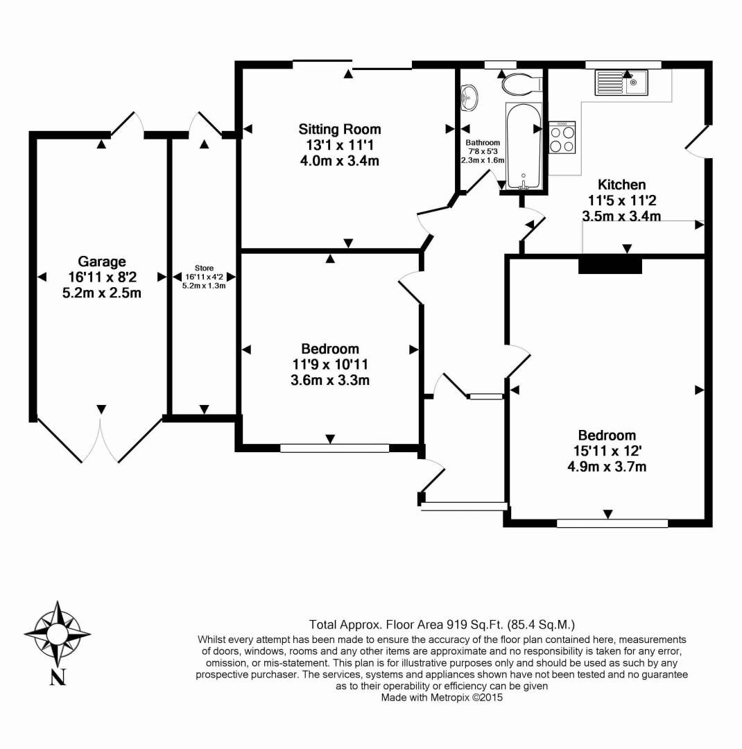 2 bed bungalow to rent in Vermont Drive - Property Floorplan