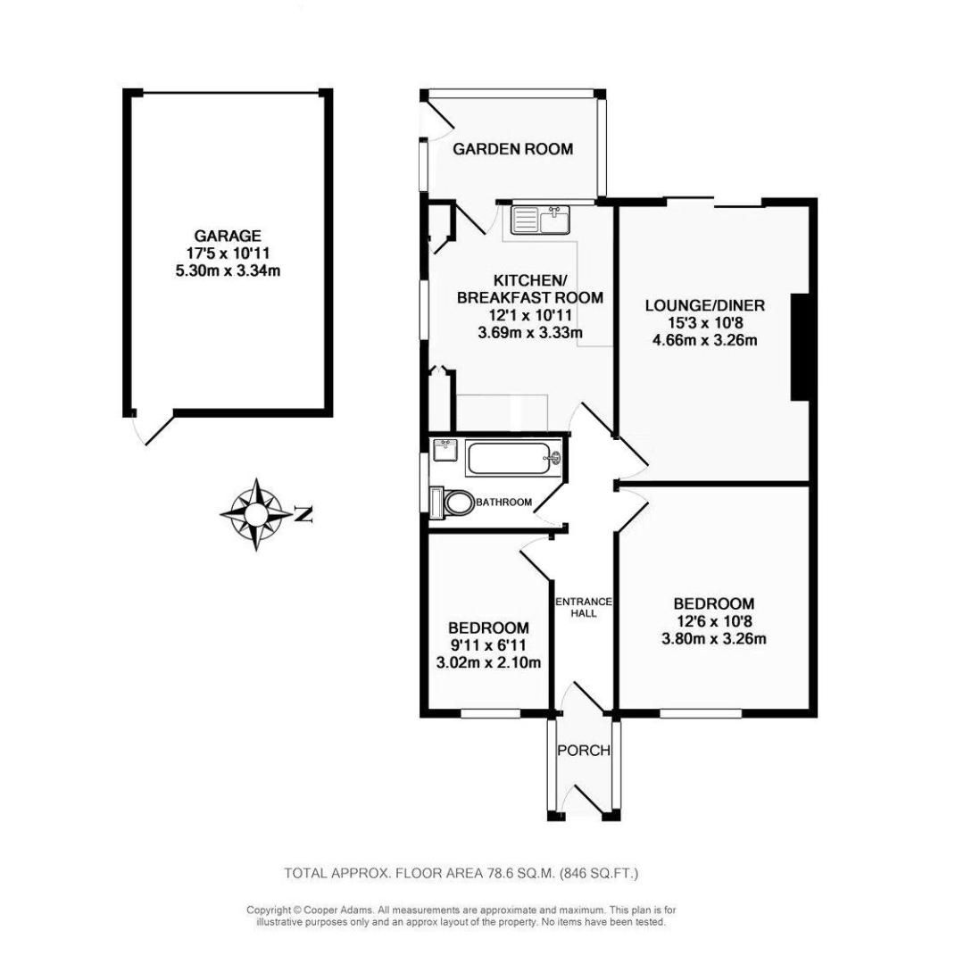2 bed bungalow for sale in Ashurst Way - Property Floorplan