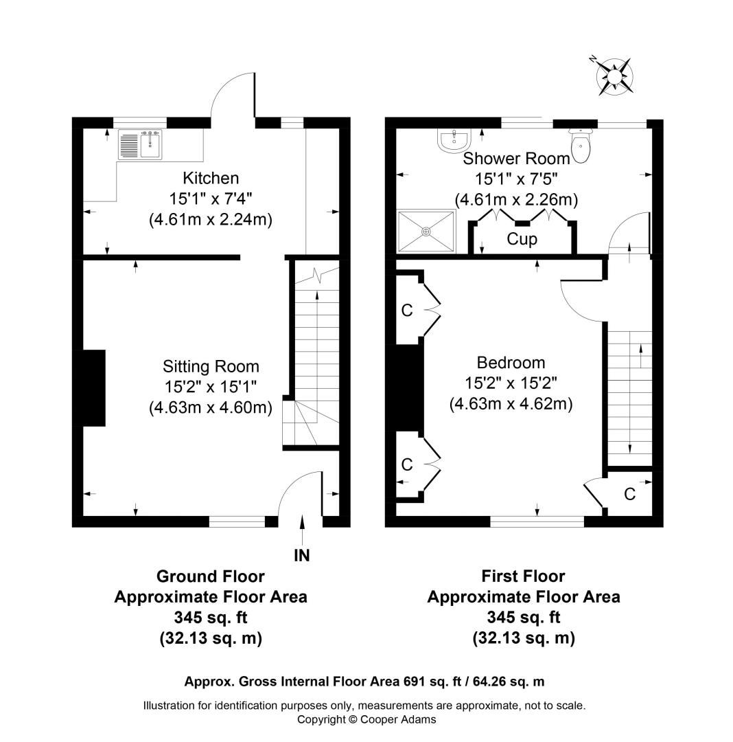 1 bed house for sale in Church Road - Property Floorplan