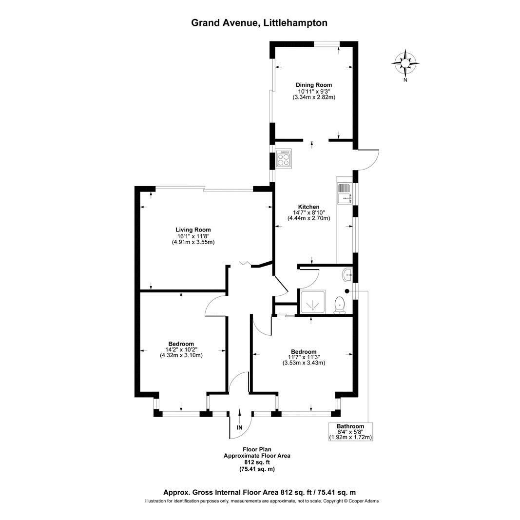 2 bed bungalow for sale in Grand Avenue - Property Floorplan