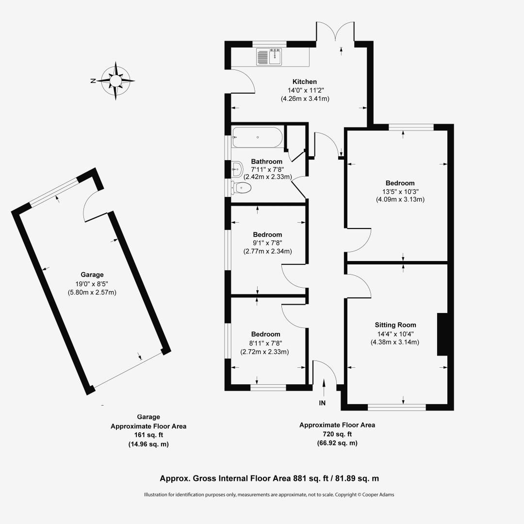 3 bed bungalow for sale in Mill Close - Property Floorplan