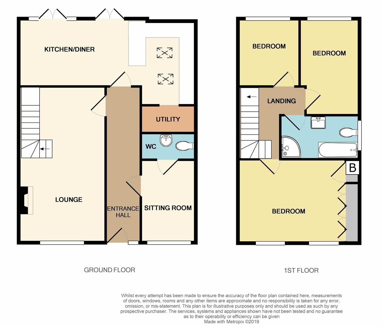 3 bed semi-detached for sale in Hayley Green - Property Floorplan