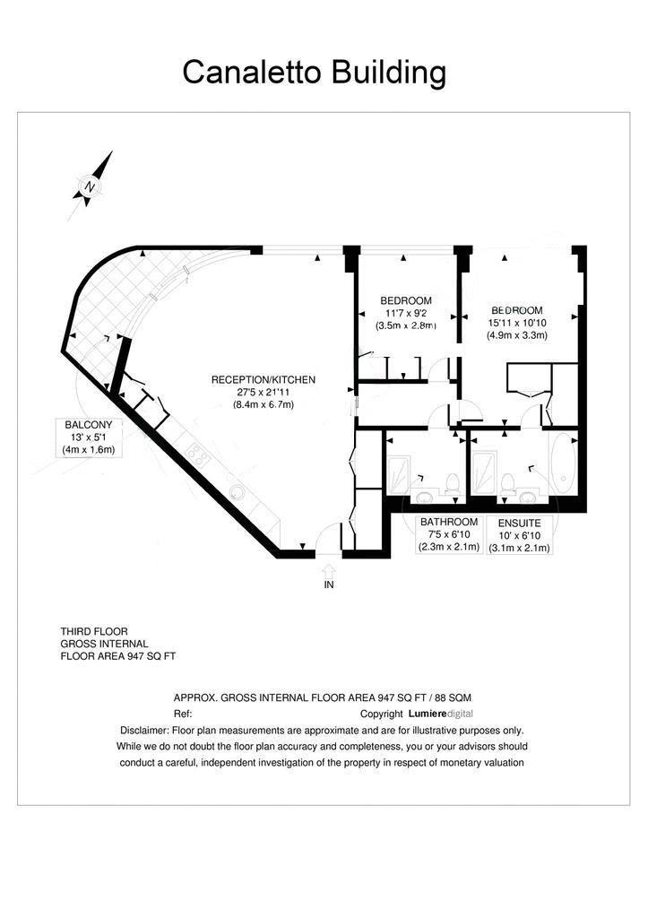 2 bed flat to rent in Canaletto Tower - Property Floorplan
