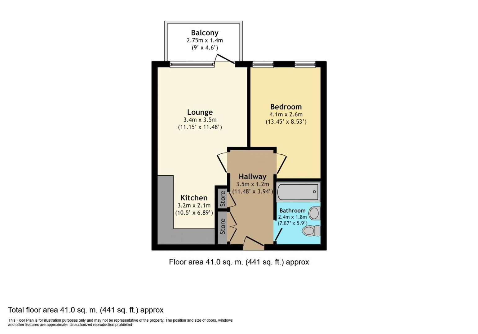 1 bed  for sale in Clovelly Place - Property Floorplan