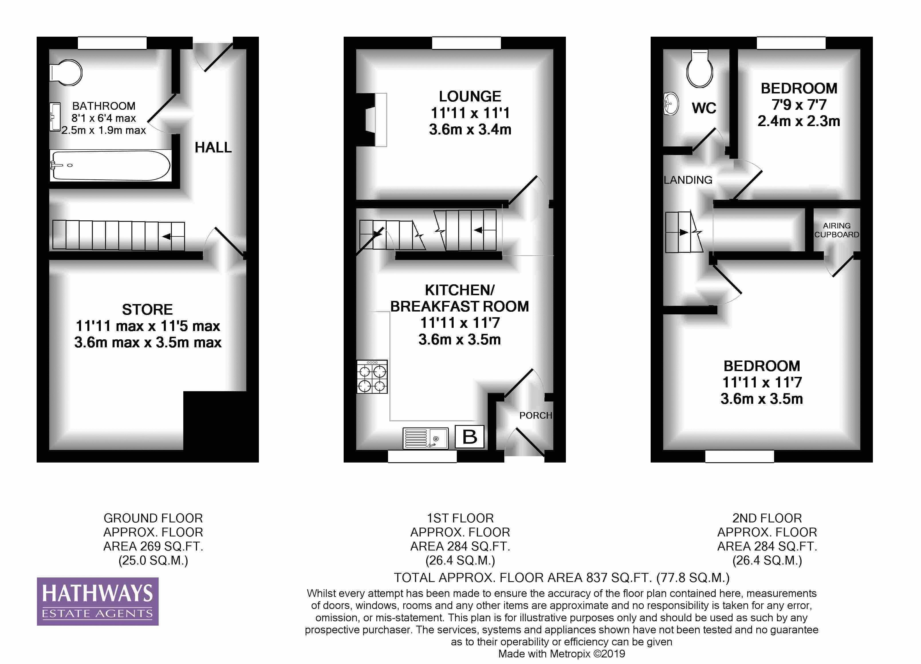 2 bed house for sale in Golynos Place Albert Road - Property Floorplan
