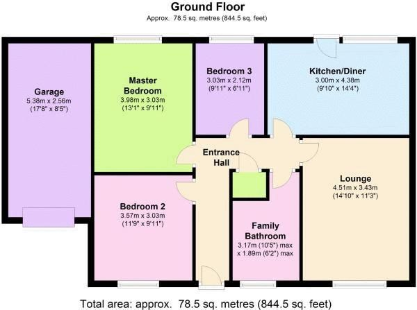 3 bed bungalow for sale in Little Common Lane - Property Floorplan